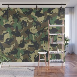Ice Hockey Player Camo Woodland Forest Camouflage Pattern Wall Mural