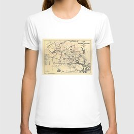 Vintage 1692 Map of Salem Massachusetts (1866) T-shirt