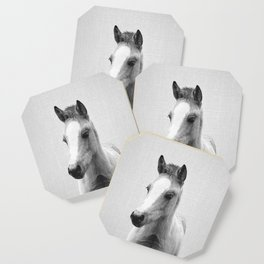 Baby Horse - Black & White Coaster