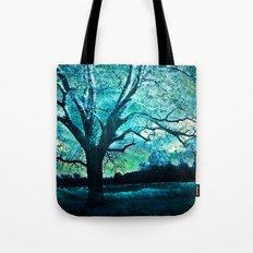 Surreal Gothic Haunting Trees Nature Aqua Blue Infrared Nature Landscape Tote Bag