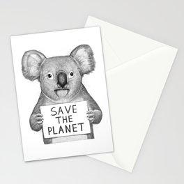 Koala save the planet Stationery Cards