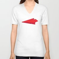 plane V-neck T-shirts featuring Paper plane by Becky Gibson