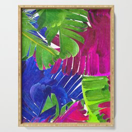 Colorful tropical leaves Serving Tray