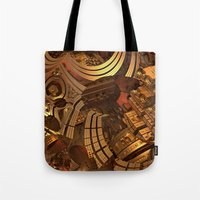 mad Tote Bags featuring Mad Mad World by Lyle Hatch