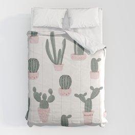 Elegant Cacti in Pots Pattern Comforters