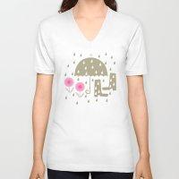 rain V-neck T-shirts featuring Rain by ottomanbrim