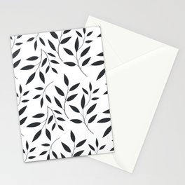 Leaves Patten In Black & White Stationery Cards