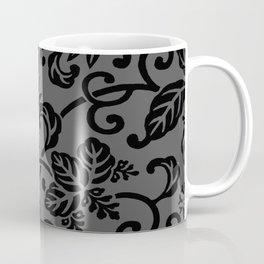 Slate Gray & Black Japanese Leaf Pattern Coffee Mug