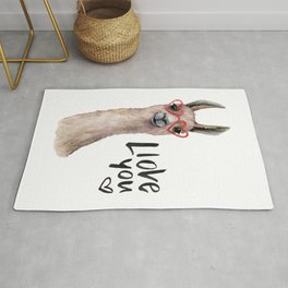 Llove you with llama. Watercolor Rug