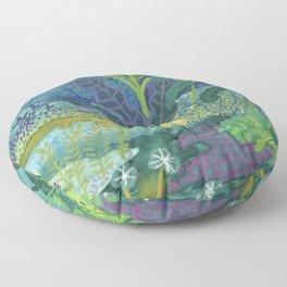 Jungle Paradise Watercolor Floor Pillow