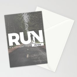 Run Cheaper Than Therapy Running Runners Treatment Stationery Cards