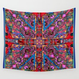 no. 131 multicolored with blue and red Wall Tapestry