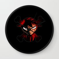 luffy Wall Clocks featuring BLOODY LUFFY by feimyconcepts05