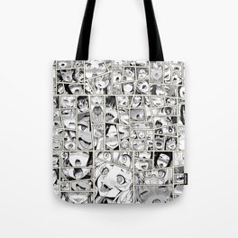 Ahegao Hentai Girls Collage B&W Comic Panels Tote Bag