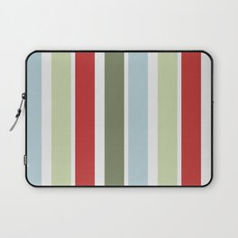 Christmas Stripes Red Blue Green and White Laptop Sleeve