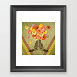 In my world, flowers come out of guns Framed Art Print