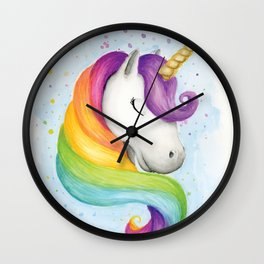 Rainbow Unicorn Wall Clock