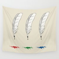 write Wall Tapestries featuring Write as a Feather RGB by rob art | simple