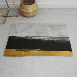 Black and Gold grunge stripes on modern grey concrete abstract backround I - Stripe - Striped Rug