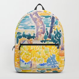 Pines on the Coastline Henri-Edmond Cross Neo-Impressionism Pointillism Watercolor Painting Backpack