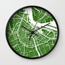 Green City Map of Amsterdam, Netherlands Wall Clock