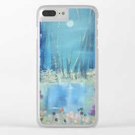 Nightfall at the pond Clear iPhone Case