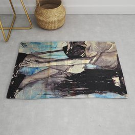 Cuore - ink & watercolor drawing-painting Rug