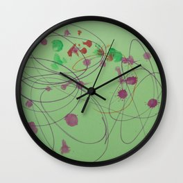 Green Dots and Swirls Wall Clock