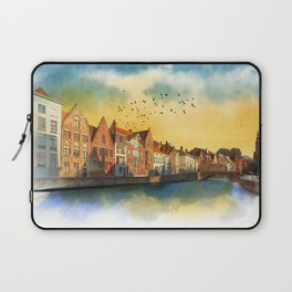 Landscape with beautiful medieval houses and canals. Bruges, Belgium. Laptop Sleeve