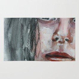 Watercolor portrait, art work, beautiful original girl, painting, modern Rug