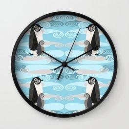 Penguin Pair Paisley Pattern Wall Clock