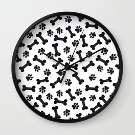 Black Bones and Paws Wall Clock