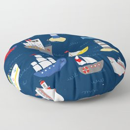 Sailing Away Out To Sea Floor Pillow