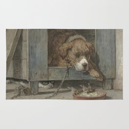 Henriette Ronner - Cat Spies On Birds With A Sleeping Dog Rug