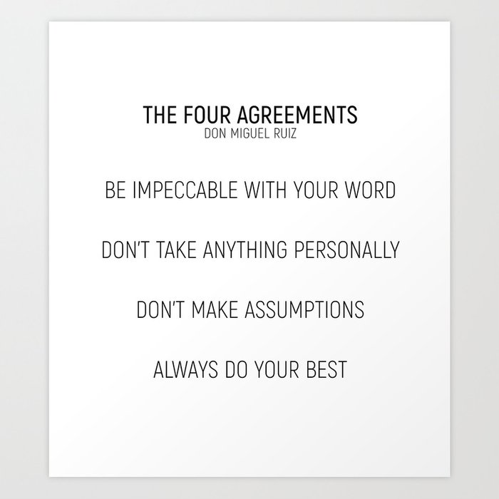 The Four Agreements Minismalism Shortversion Art Print By
