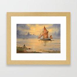 Thames Barge At Sunset Maldon Essex Framed Art Print