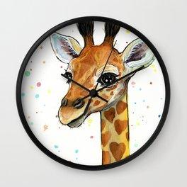 Giraffe Baby Animal with Hearts Watercolor Cute Whimsical Animals Nursery Wall Clock