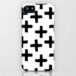 Black and White Ink Cross Pattern iPhone Case