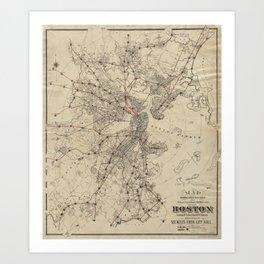Vintage Map of Boston Railroads (1876) Art Print
