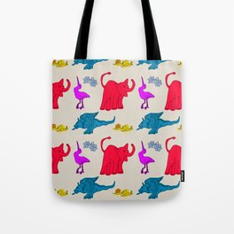 Elephant Print on Neutral Background Tote Bag