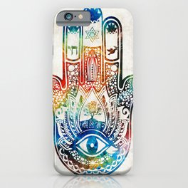 Colorful Hamsa Hand - Jewish Artwork - Sharon Cummings iPhone Case