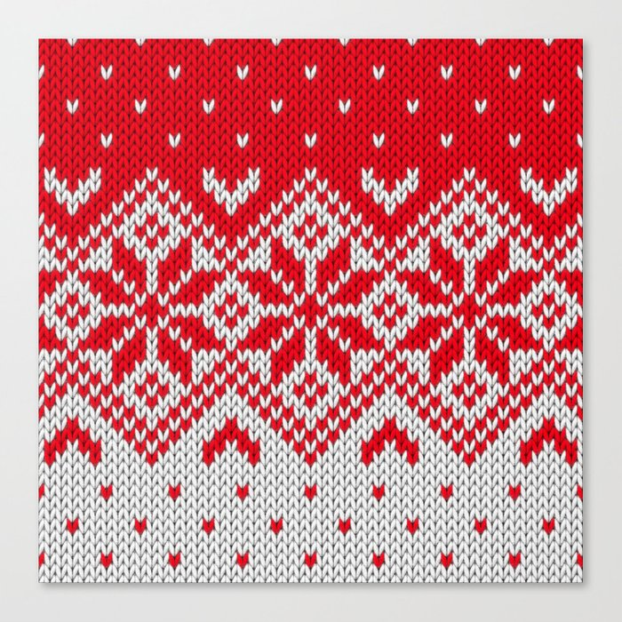 Winter knitted pattern 10 Canvas Print