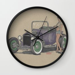T-bucket Girl Wall Clock