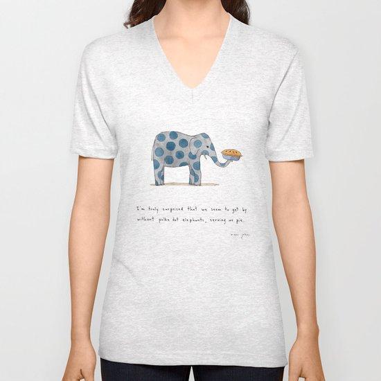 polka dot elephants serving us pie Unisex V-Neck