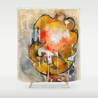 sun and moon Shower Curtains featuring Sun & Moon by Rubis Firenos