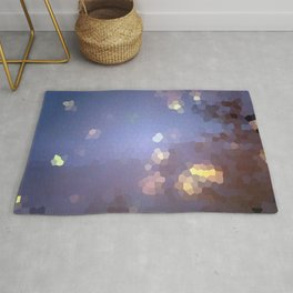 Abstract landscape with full moon and stars Rug