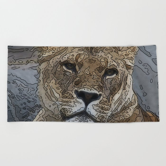 Animal ArtStudio 1016 lion Beach Towel