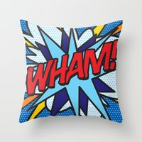 comic book Throw Pillows featuring Comic Book WHAM! by Thisisnotme