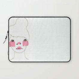 Line Drawing of a Girl in Neon  Laptop Sleeve