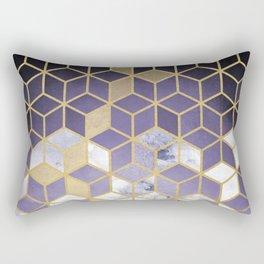 Shades Of Purple Cubes Pattern Rectangular Pillow